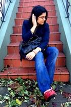 nautical Ann Taylor Loft blazer - Seven For All Mankind jeans - moto Besso bag