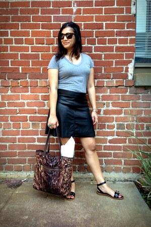 black faux leather Sanctuary skirt - dark brown Ralph Lauren bag