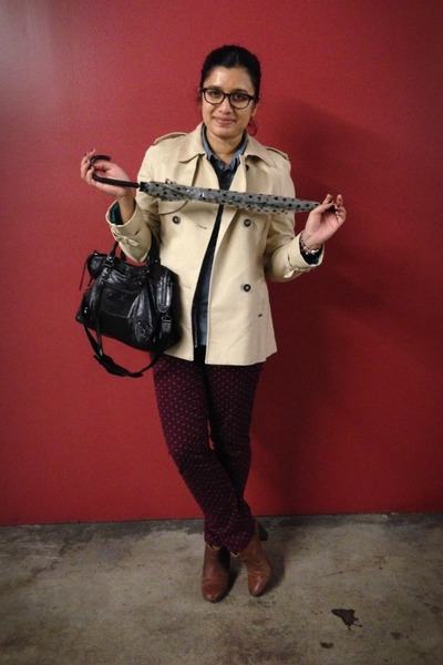 polka dots Loft pants - khaki trench Zara jacket - moto Besso bag