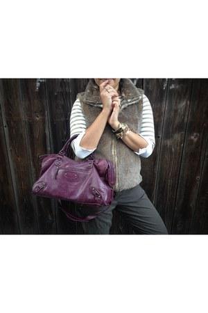 Besso purse - faux fur Loft vest - striped Gap top