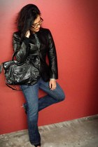 wide bootcut James Jeans jeans - leather DKNY blazer - moto Besso bag