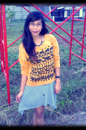 light orange patterned blouse - light blue skirt - black necklace