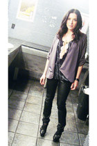 black Qupid shoes - gray silky f21 blazer - graphic avoyce blouse - peach feathe