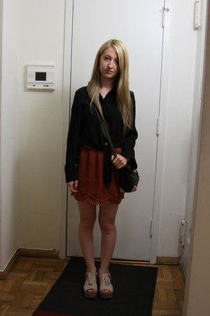 black Alexander Wang bag - burnt orange Forever 21 skirt