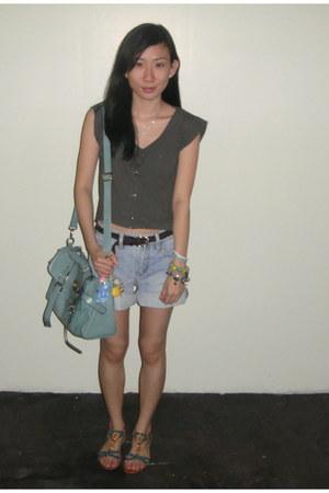 aquamarine satchel SM bag - periwinkle LMM shorts - charcoal gray Oxygen top