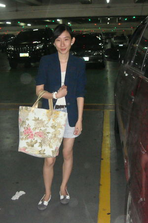 gray Suelas shoes - gold ichigo bag - blue thrifted blazer - LMM shorts