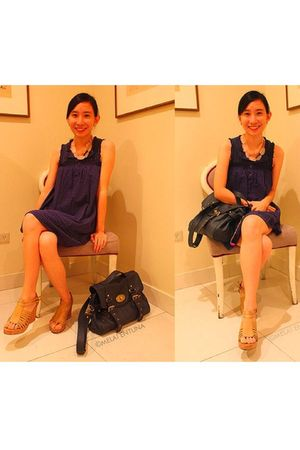 blue Mossimo dress - blue Forever 21 bag - beige Parisian Jr shoes - pink Foreve