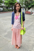 bubble gum Summersault skirt - white floral Hang Ten top - navy EDC cardigan