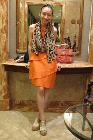 carrot orange Zara dress - brown taiwan scarf - eggshell Shop Dainty heels