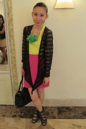 lime green Mango top - hot pink Archive Clothing skirt - black taiwan cardigan