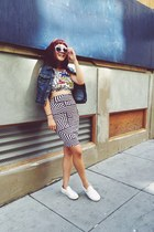 white geometric Urban Outfitters skirt - periwinkle chictopia shop sunglasses