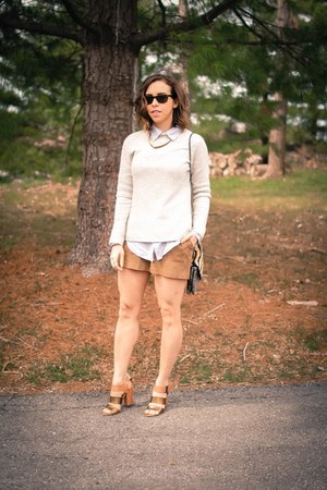 brown suede H&M shorts - heather gray wool banana republic sweater