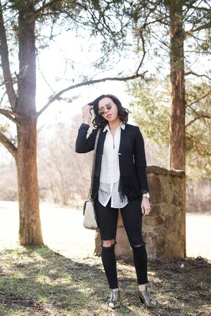 black fringe banana republic blazer - ivory banana republic blouse