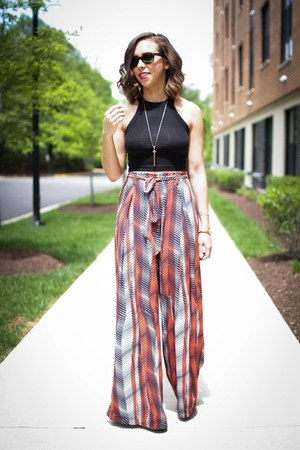black crop top Urban Outfitters top - ruby red wide leg Zara pants