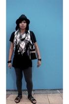 Topshop hat - Forever21 scarf - Forever21 shirt - just g leggings - Aldo shoes