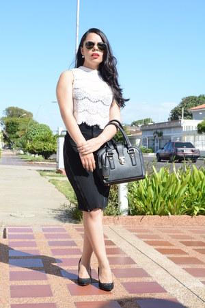 black Zara skirt - black leather Ivanka Trump bag