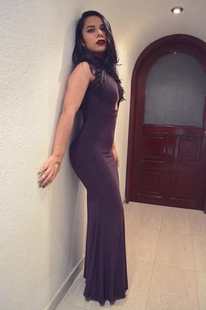 purple cut out dress - silver pumps Zara heels - silver round swarovski earrings