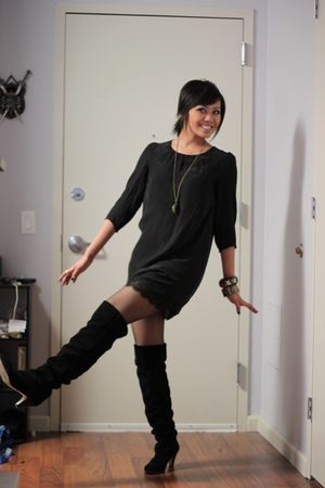black silence and noise dress - black Dolce Vita boots - gray tights - gold H&M