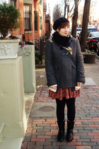 red bycorpus dress - gray 344 coat - white H&M cardigan - gray BDG cardigan - bl