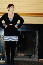 black Forever 21 cardigan - black Manguun boots - Ruche dress - black tights - b