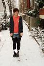 Gray-bdg-cardigan-orange-vintage-blouse-white-warehouse-t-shirt-blue-only-