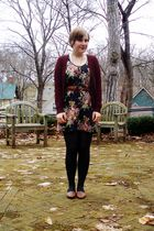 black modcloth dress - red H&M cardigan - black tights - brown thrifted shoes -