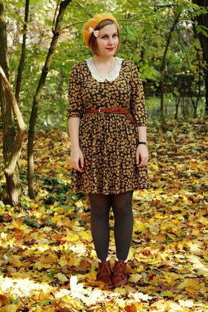 yellow Zara dress - gray H&M tights - brown H&M belt - brown Akira boots - yello