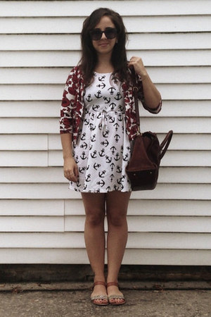 brown madewell bag - white sammydress dress - red Forever 21 sweater