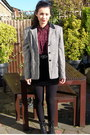 Black-studded-boots-silver-blazer-black-velvet-skirt-maroon-blouse