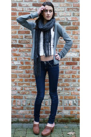 Topshop clogs - hollister jeans - corset H&M intimate - Cacharel cardigan