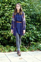 navy jasuard ecote cardigan - brick red chelsea Zara boots - navy Kimichi dress