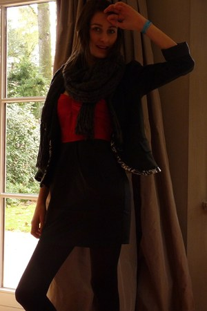 black nolita blazer - ruby red H&amp;M dress - dark gray H&amp;M scarf