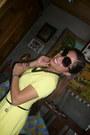 Yellow-vintage-maxi-dress-black-apple-curve-sunglasses-black-beads-earrings