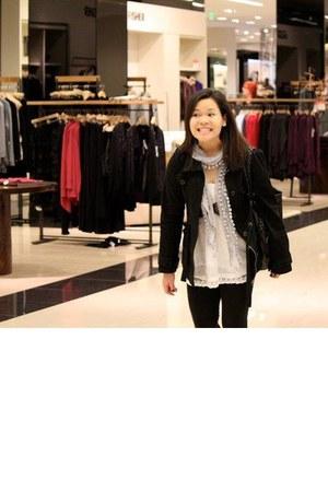 gray Charlotte Russe boots - blackhooded Forever21 jacket