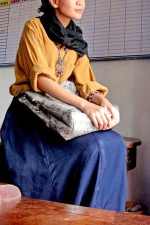 mustard menswear vintage shirt - silver metallic Adore bag