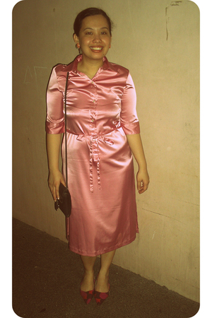 pink Space dress - pink shoes - pink accessories - black Esprit purse