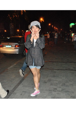 gray cardigan - pink Converse shoes - silver sm department store hat