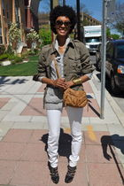 green Gap jacket - gray H&M sweater - white Joes Jeans jeans - black Jeffrey Cam