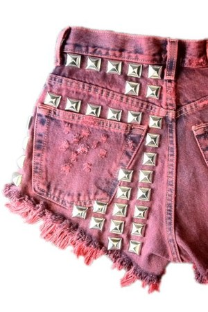 red studded Omen eye shorts