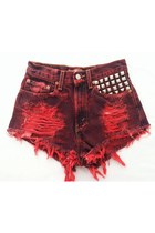 red studded cut off Omen eye shorts