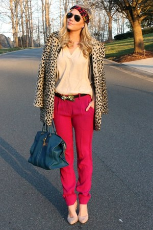leopard asos coat - leather YSL bag - insect asos belt - lucite asos heels