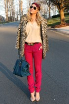 leopard asos coat - leather YSL bag - insect asos belt - lucite asos heels