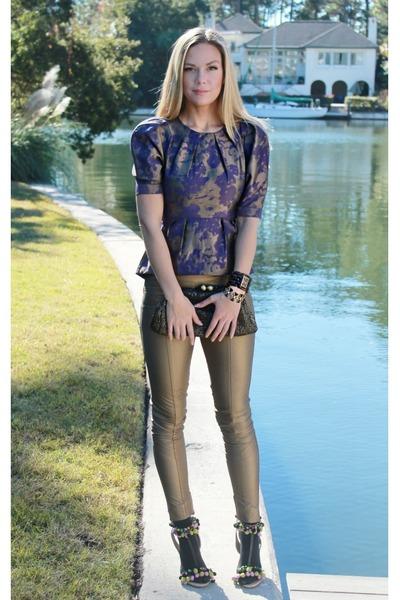 purple gold asos pants - faux fur asos scarf - metallic asos bag