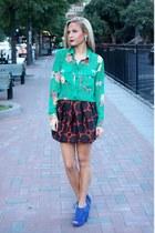 floral piperlime shirt - jacquard asos skirt - fringe asos heels