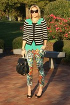 floral lulus flats - striped Old Navy cardigan - scallop Saks 5th Ave top