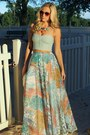 Crop-top-american-eagle-top-maxi-skirt-vintage-skirt-bib-h-m-necklace