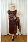 Dark-brown-vintage-1940s-dress-black-buffalo-exchange-heels