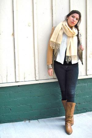 brown Steve Madden boots - dark gray Forever 21 jeans - bronze Forever 21 jacket
