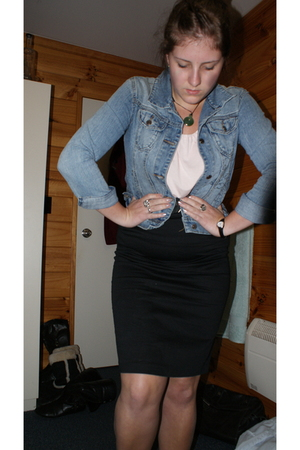 blue denim Secondhand jacket - pink batwing Glassons t-shirt