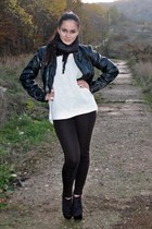 black no name boots - black leather Tally Weijl jacket - black Zara leggings
